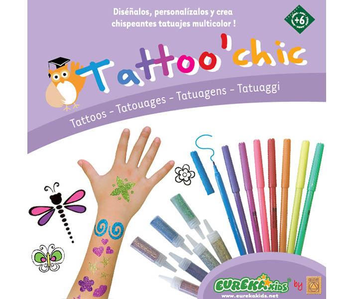 juguete para hacer tatuajes. 8 marcadores especiales para tatuajes. - 7 frascos de purpurina en 7 colores